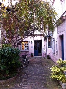 My French publisher's office: cute, on a courtyard, trees, rustic, yet in the heart of Paris