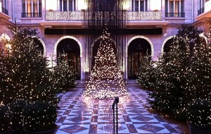 Lighted trees in lobby of Georges Cinq hotel