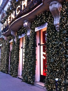 Front doors to Givenchy in Paris, with Christmas garlands