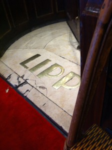 Floor of Bistro Lipp, with the name in brass letters