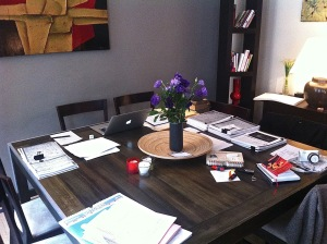My 'office' in Paris, with the first fruits of my research